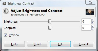 Gimp brightness and contrast panel