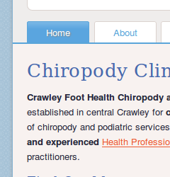 Crawley Foot Health Clinic website home page