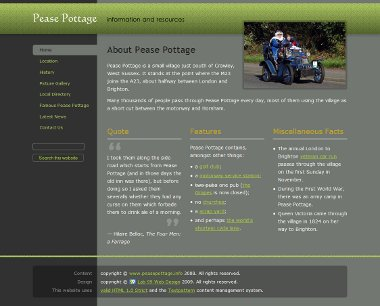 Pease Pottage Information home page