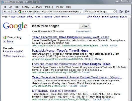 Google search results: Safari