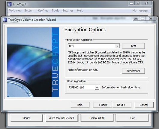 TrueCrypt Encryption Options screen