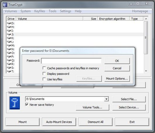 TrueCrypt File Password screen