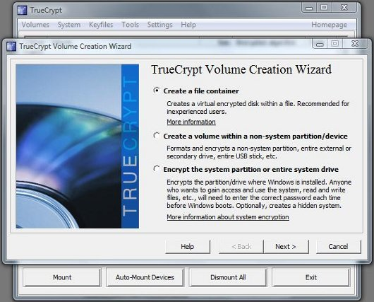 TrueCrypt Volume Creation Wizard screen