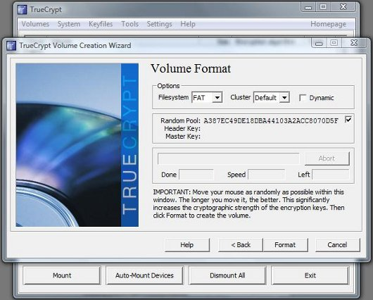 TrueCrypt Volume Format screen