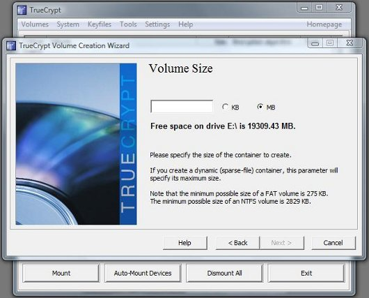 TrueCrypt Volume Size screen