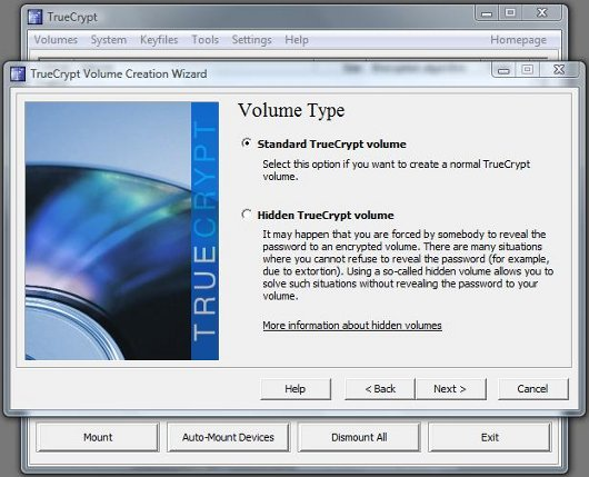 TrueCrypt Volume Type screen