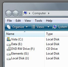 Windows Vista file selection screen with a TrueCrypt virtual drive highlighted
